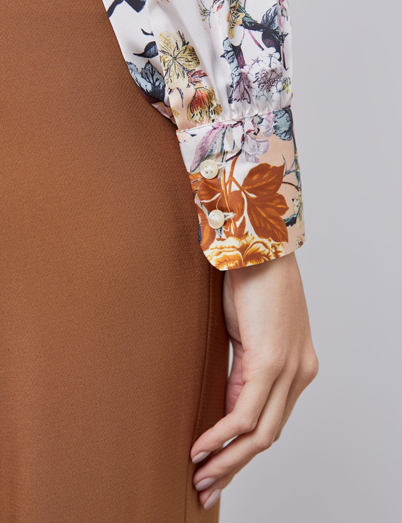 Women's Brown & Cream Floral Fitted Satin Blouse - Single Cuff - Pussy Bow