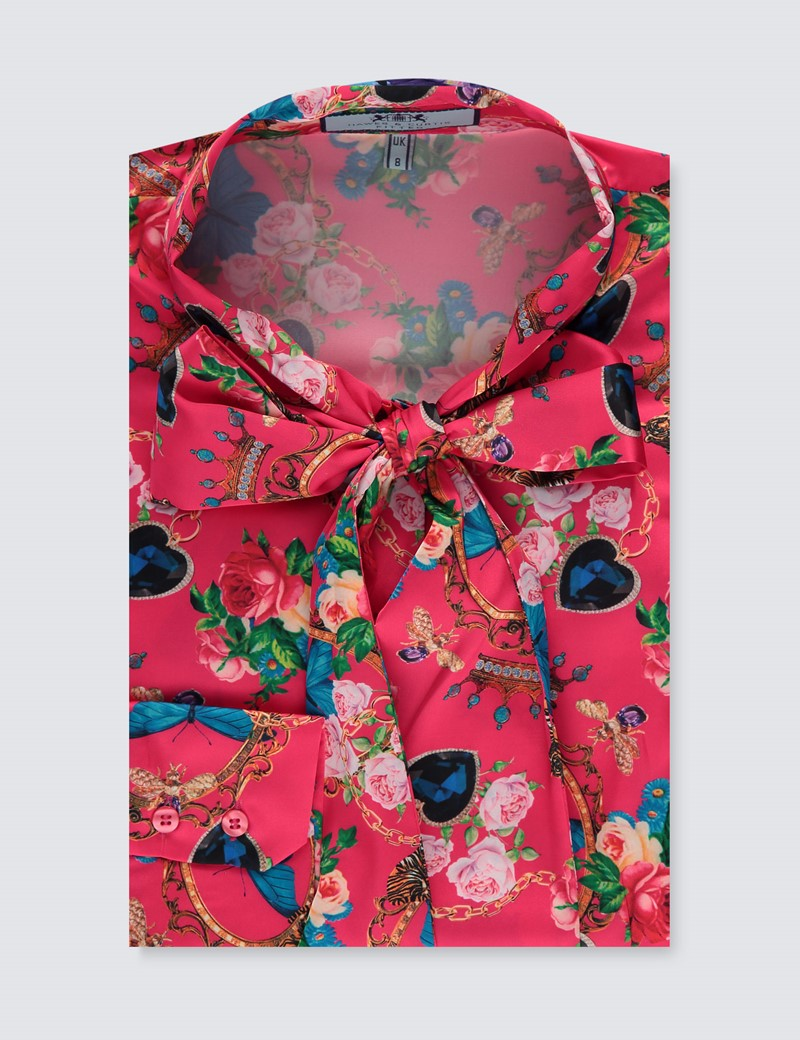 Women's Pink & Blue Floral Fitted Satin Blouse - Single Cuff - Pussy Bow