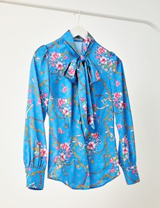 Women's Blue & Pink Floral Chains Fitted Satin Blouse - Single Cuff - Pussy Bow