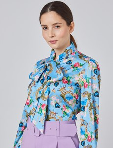 Women's Light Blue & Yellow Floral Fitted Satin Blouse - Single Cuff - Pussy Bow