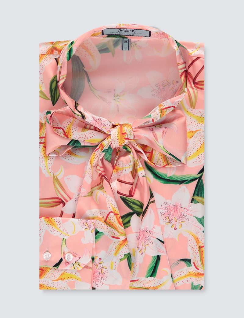 Women's Pink & Green Floral Fitted Satin Blouse - Single Cuff - Pussy Bow