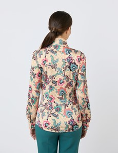 Women's White & Orange Geometric Floral Fitted Satin Blouse - Single Cuff - Pussy Bow