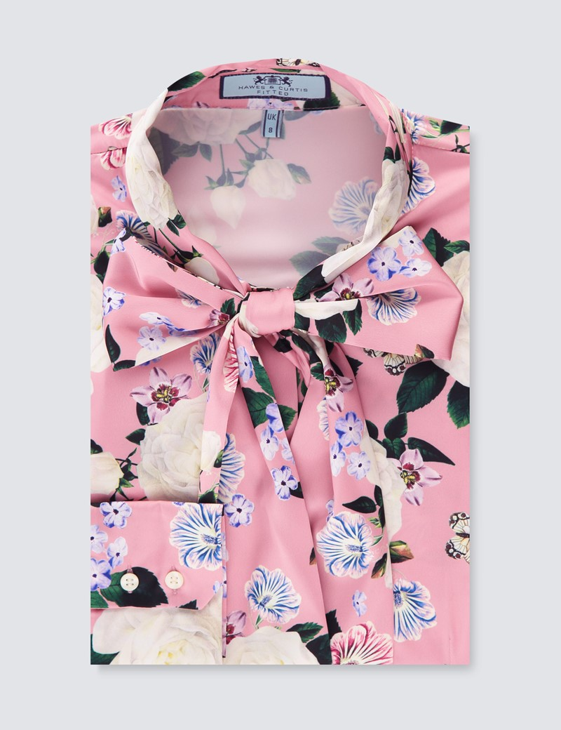 Women's Pink & Cream Floral Fitted Satin Blouse - Single Cuff - Pussy Bow