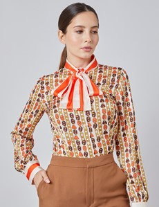 Women's Cream & Gold Chains Print Fitted Satin Blouse - Single Cuff - Pussy Bow