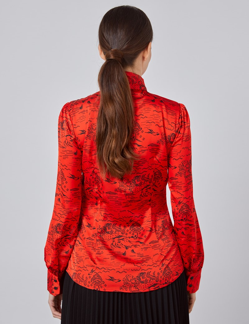 Women's Red & Black Mountain Scene Print Fitted Satin Blouse - Single Cuff - Pussy Bow
