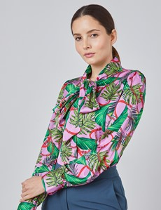 Women's Pink & Green Tropical Floral Fitted Satin Blouse - Single Cuff - Pussy Bow