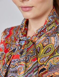 Women's Blue & Orange Paisley Fitted Satin Blouse - Single Cuff - Pussy Bow