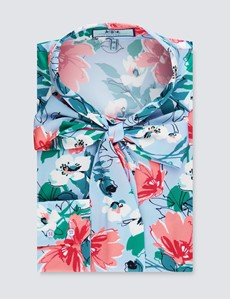 Women's Blue & Pink Floral Fitted Satin Blouse - Single Cuff - Pussy Bow