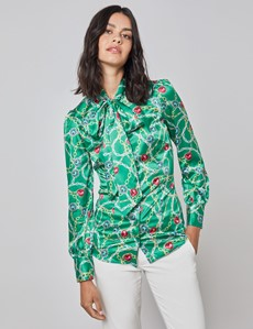 Women's Green & Gold Print Fitted Satin Blouse - Single Cuff - Pussy Bow