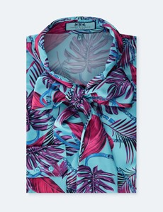 Women's Blue & Pink Floral Print Satin Blouse - Single Cuff - Pussy Bow