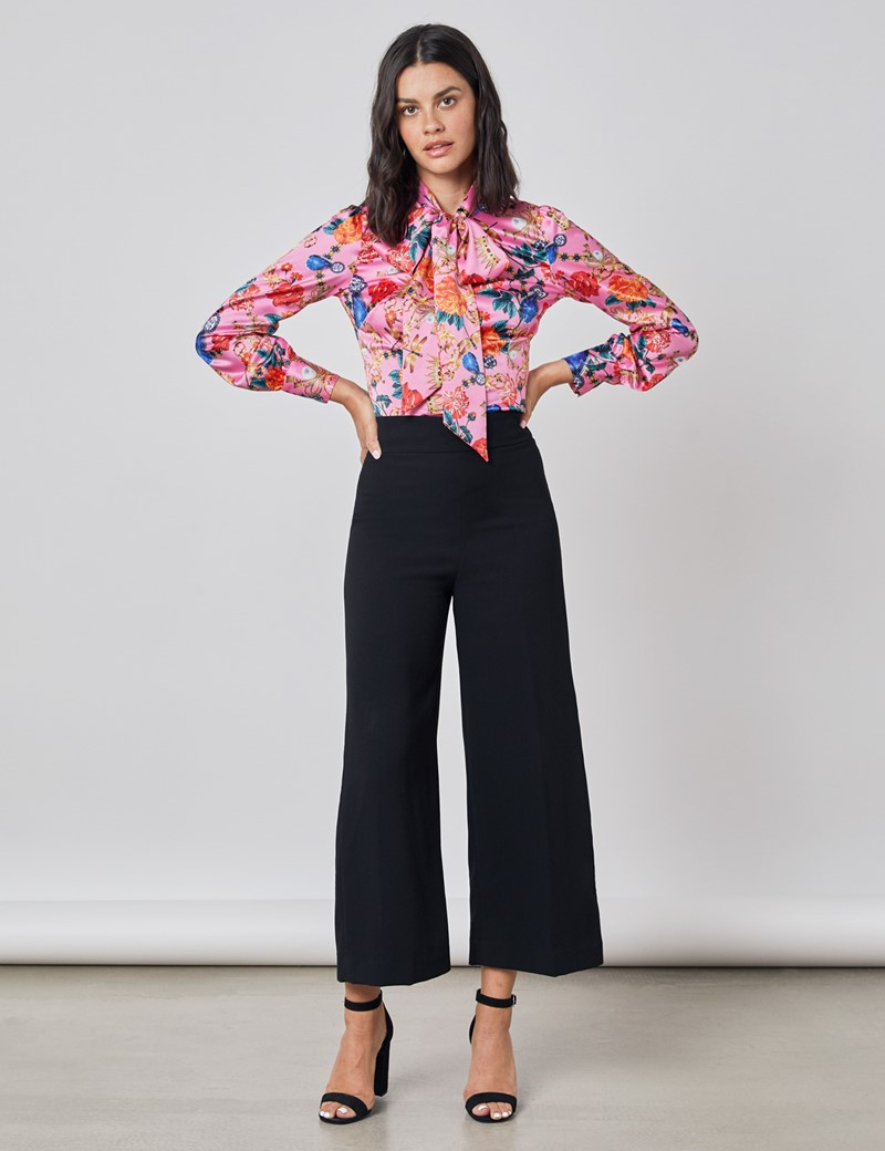 Women's Pink & Gold Floral Print Satin Blouse - Single Cuff - Pussy Bow