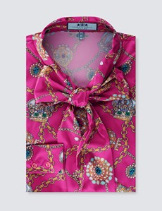 Women's Pink & Gold Crown Jewels Fitted Satin Blouse - Single Cuff - Pussy Bow