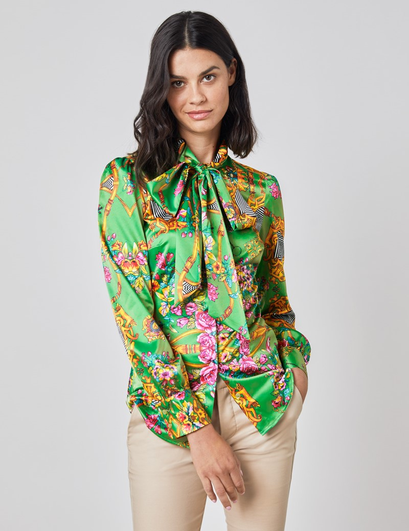 Women's Jade & Pink Chains Print Fitted Satin Blouse - Single Cuff - Pussy Bow