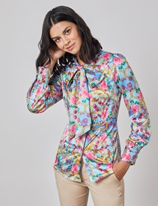 Women's Blue & Pink Floral Satin Blouse - Single Cuff - Pussy Bow