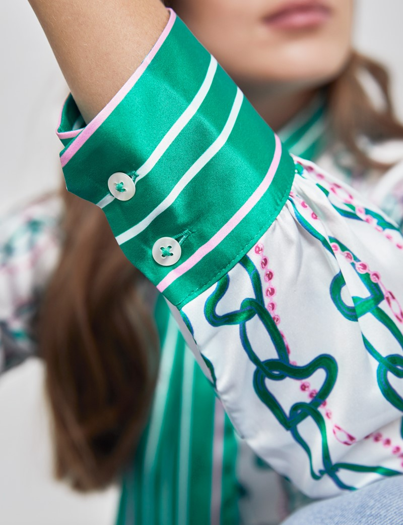 Women's White & Green Chain Stripe Fitted Satin Blouse - Single Cuff - Pussy Bow