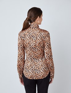 Women's Black & Brown Leopard Print Satin Blouse - Single Cuff - Pussy Bow