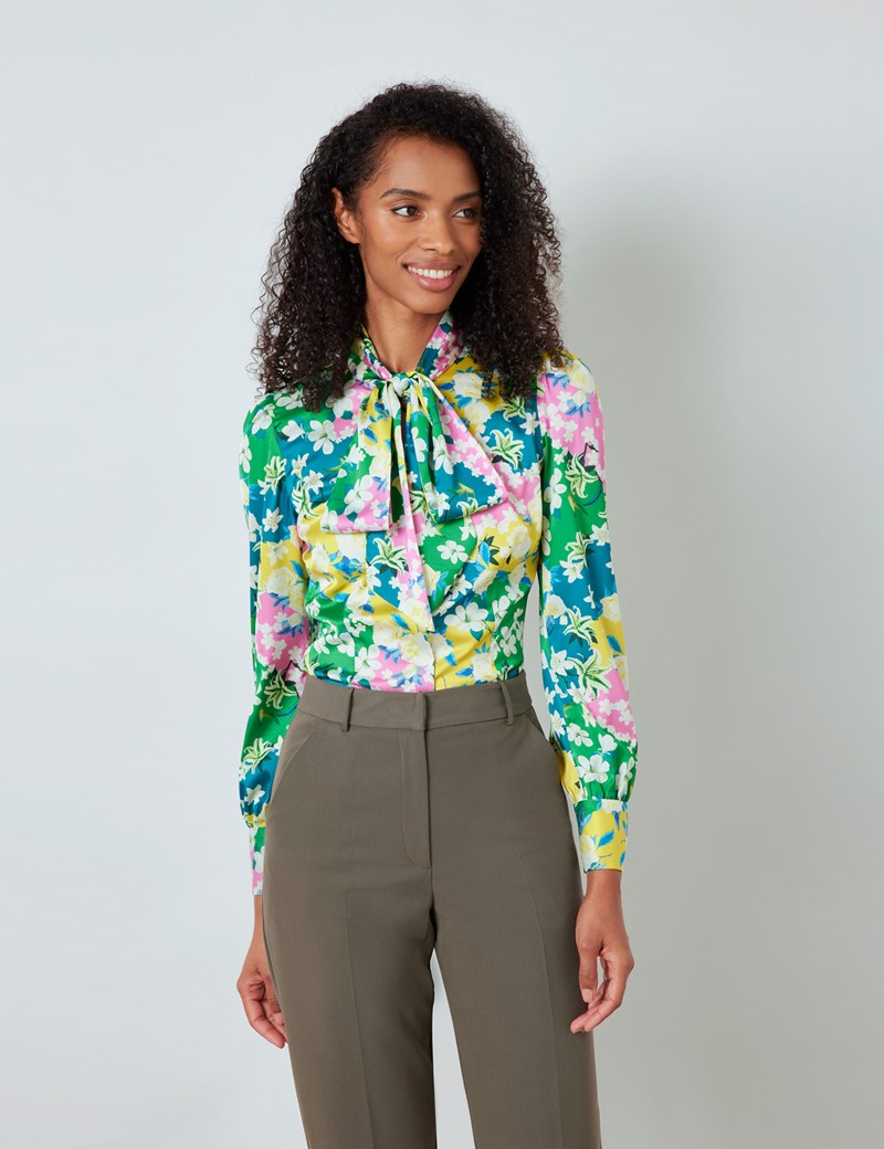 Women's Green & Yellow Floral Print Satin Blouse - Single Cuff - Pussy Bow