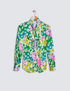 Schluppenbluse – Slim Fit – Satin – Grün Gelb Floraler Print