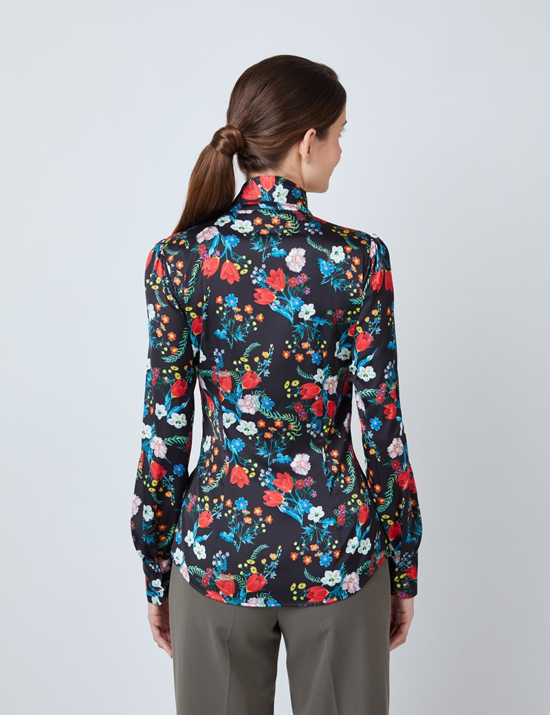 Women's Black & Red Botanical Tulips Print Satin Blouse - Single Cuff - Pussy Bow