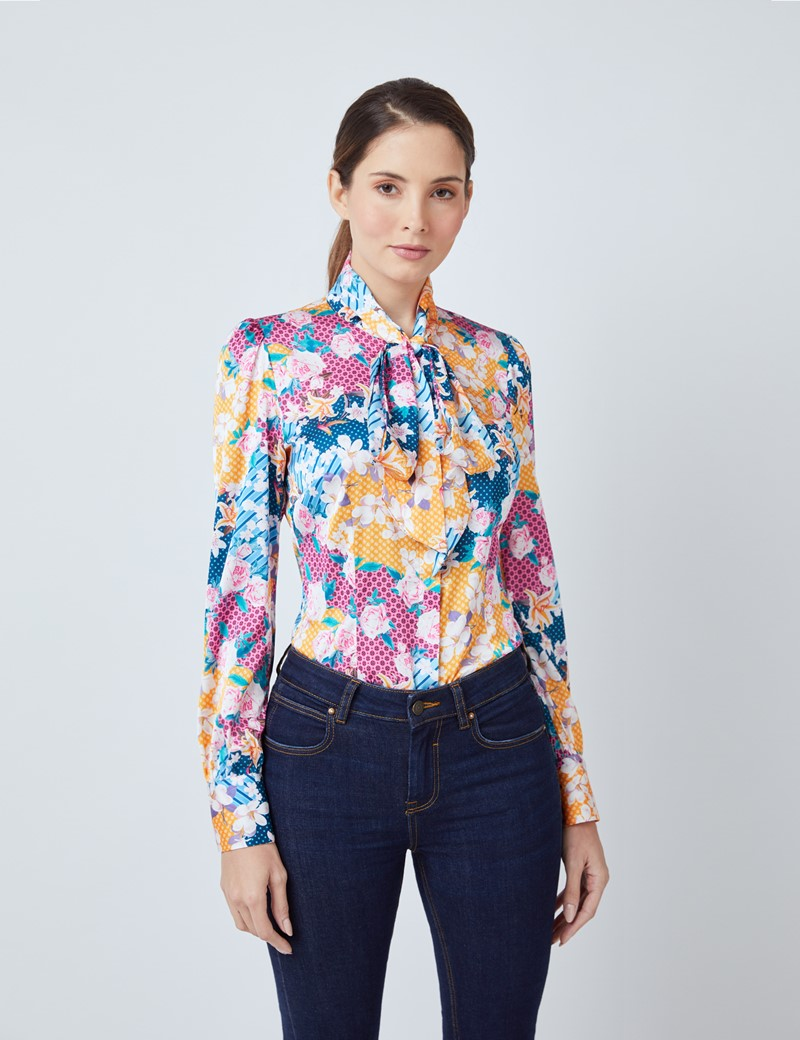 Women's Orange & Pink Floral Print Satin Blouse - Single Cuff - Pussy Bow