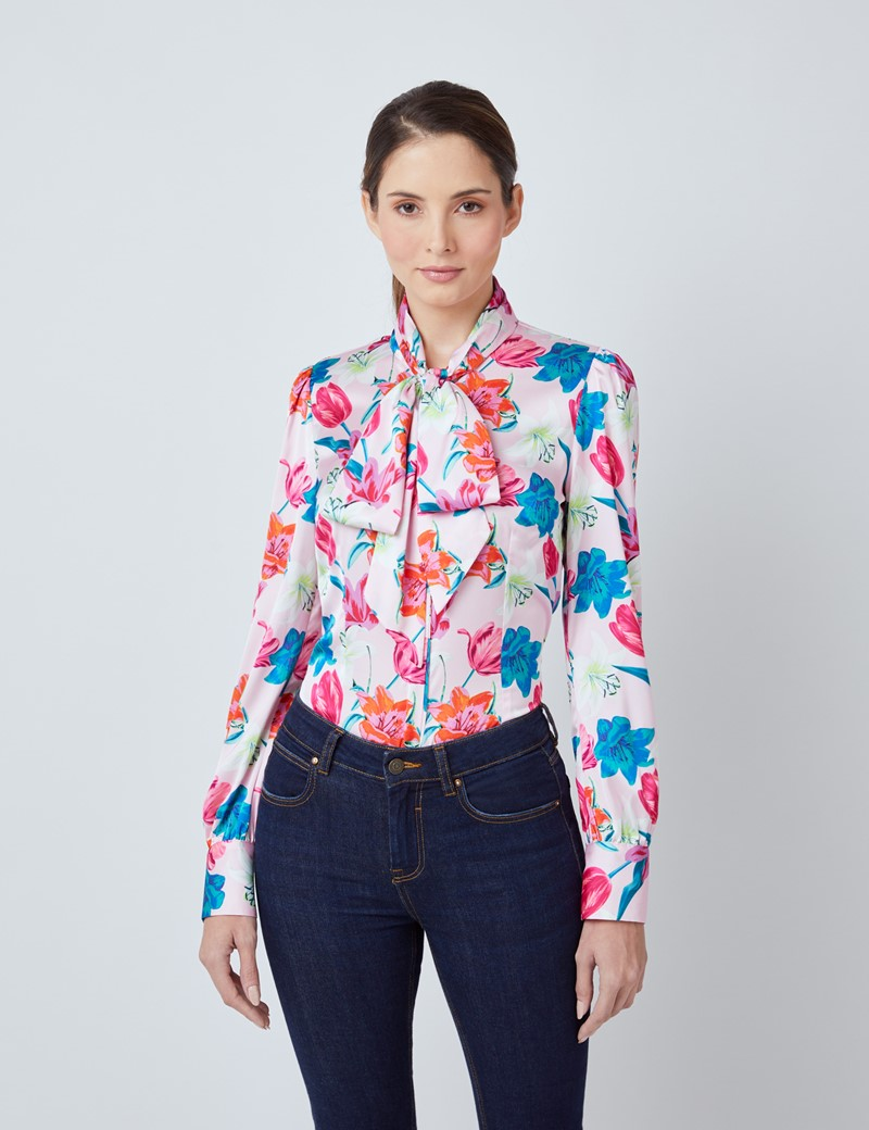 Women's Pink & Fuchsia Floral Print Satin Blouse - Single Cuff - Pussy Bow