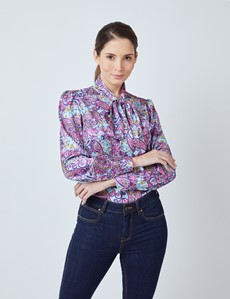 Women's Light Blue & Pink Small Floral Paisley Print Satin Blouse - Single Cuff - Pussy Bow