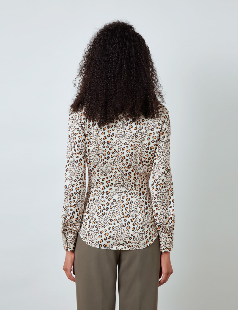 Women's Cream & Black Leopard Print Satin Blouse - Pussy Bow