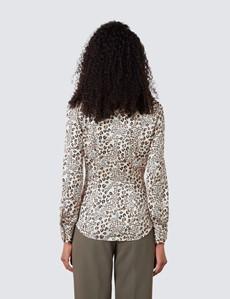 Women's Cream & Black Leopard Print Satin Blouse - Pussy Bow