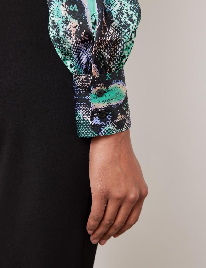 Women's Green & Purple Snake Print Satin Blouse - Pussy Bow