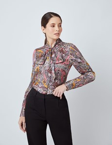 Women's Brown & Pink Large Paisley Print Satin Blouse - Pussy Bow