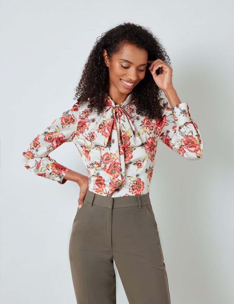 Women's Cream & Red Large Floral Print Satin Blouse - Pussy Bow
