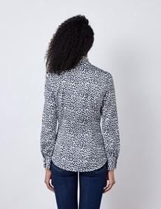 Women's Black & White Leopard Print Satin Blouse - Pussy Bow