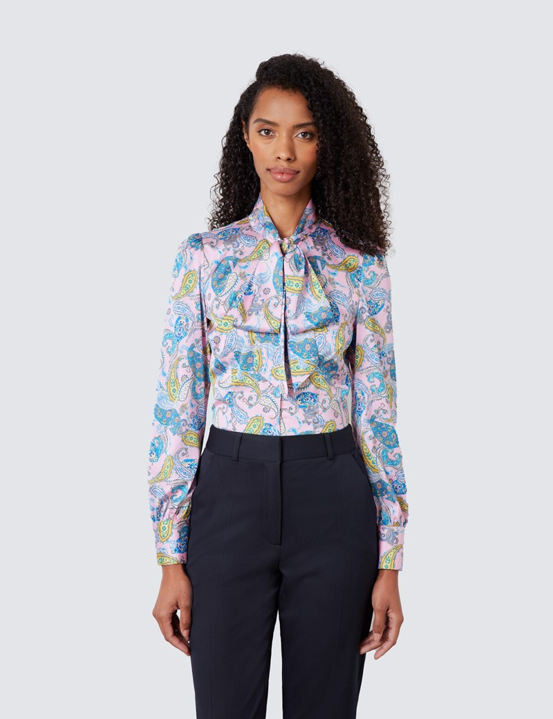 Women's Pink & Blue Rustic Paisley Print Satin Blouse - Pussy Bow