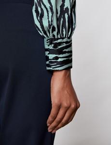 Women's Green & Black Zebra Print Satin Blouse - Pussy Bow