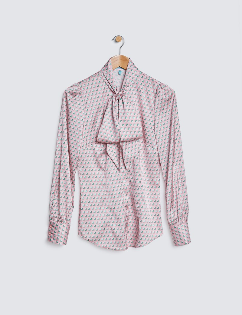 Women's Pink & Green Geometric Squares Print Satin Blouse - Pussy Bow