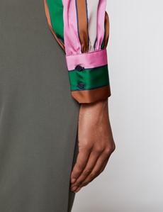 Women's Pink & Orange Multi Colour Stripe Print Satin Blouse - Pussy Bow