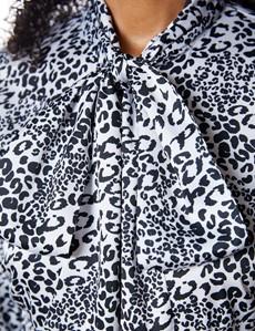 Women's Leopard Print Black & White Pussy Bow Blouse