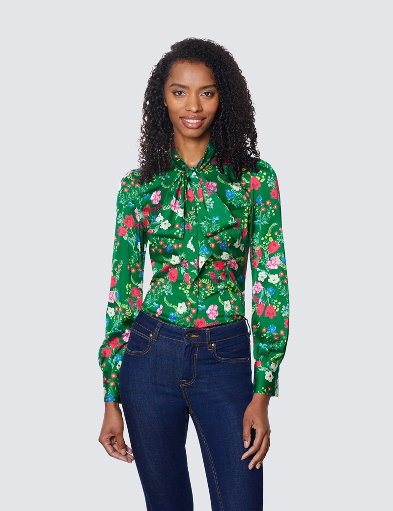 Women's Green & Red Large Floral Print Satin Blouse - Pussy Bow