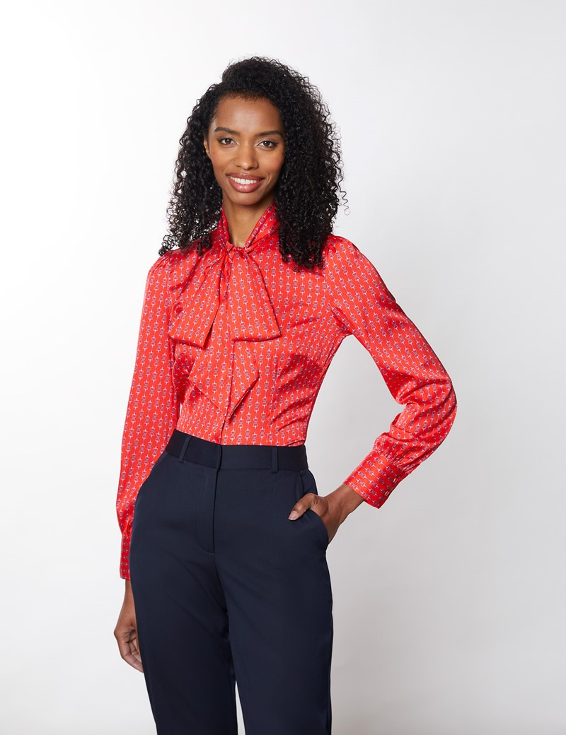 Women's Red & Pink Chain Print Satin Blouse - Pussy Bow