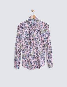 Women's Pink & Black Floral Print Satin Blouse - Pussy Bow