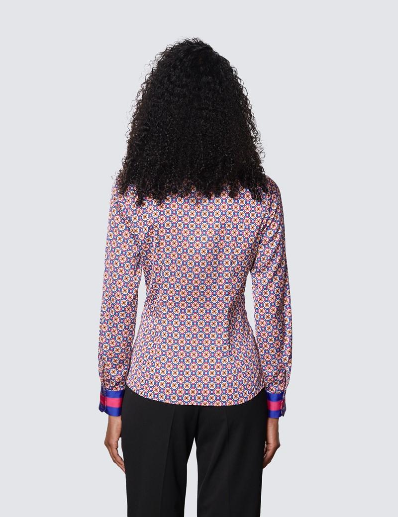 Women's Blue & Fuchsia Geometric Print Pussy Bow Blouse