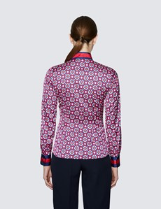 Women's Red & Navy Geometric Print Pussy Bow Blouse