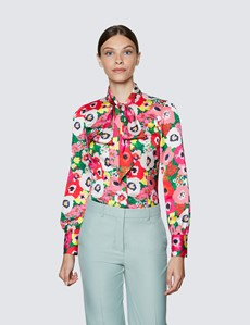 Women's Red & Green Large Poppy Print Pussy Bow Blouse