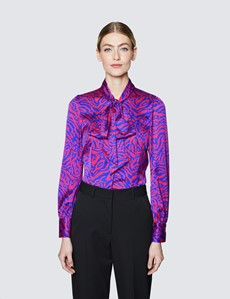 Women's Fuchsia & Purple Zebra Print Pussy Bow Blouse