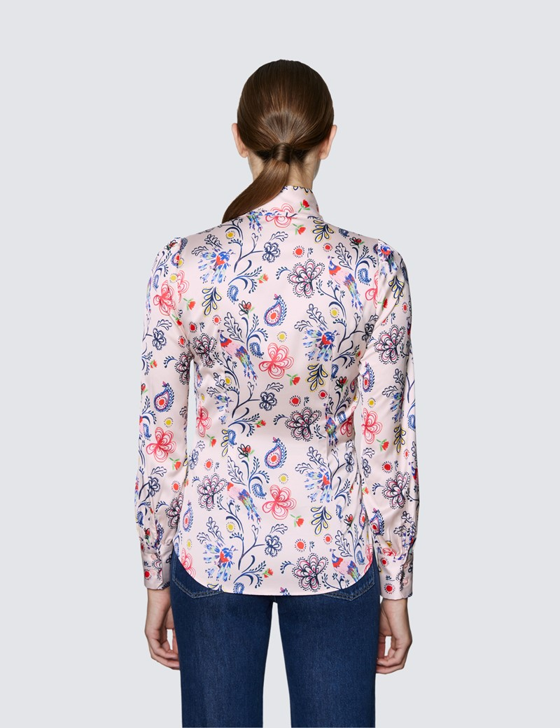 Women's Pink & Red Floral Print Pussy Bow Blouse