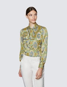 Women's Yellow & Blue Large Paisley Print Pussy Bow Blouse