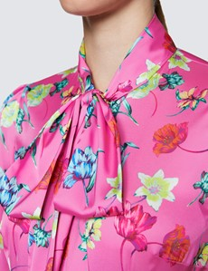Women's Pink & Yellow Floral Print Pussy Bow Blouse