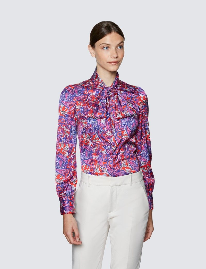 Women's Red & Purple Floral Paisley Print Pussy Bow Blouse