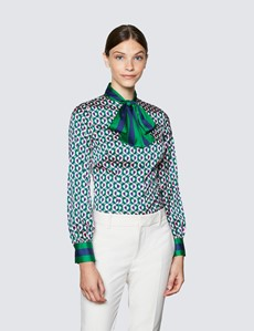 Women's Green & Pink Geometric Print Pussy Bow Blouse