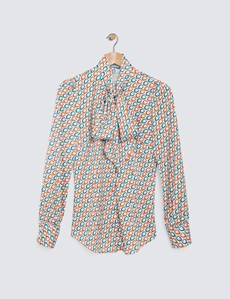 Women's Red & Blue Chains Print Pussy Bow Blouse